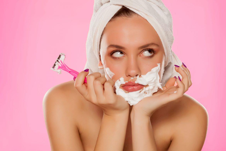 Woman Shaving chin hair