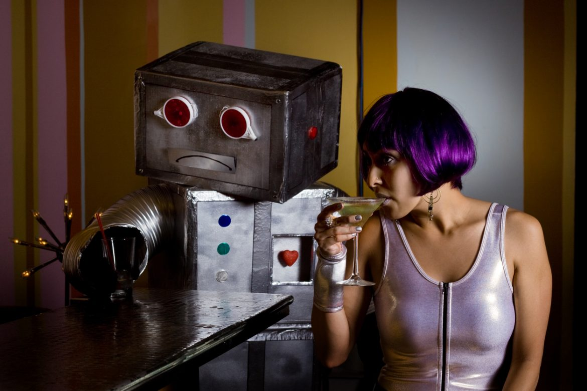 sad sexbot with empty drink and spacegirl at bar