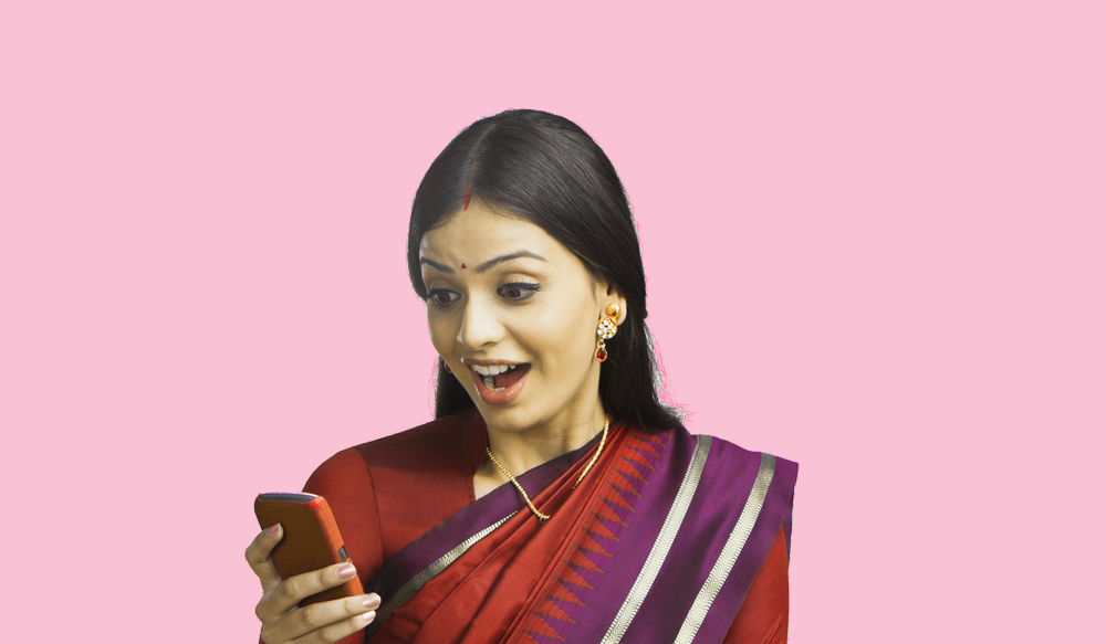 Indian woman texting